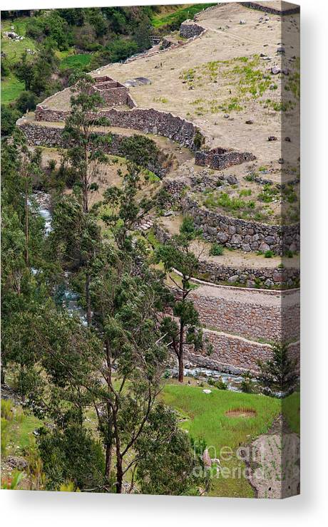 Llactapata Site Canvas Print featuring the photograph llactapata Site and Urubamba River by Bob Phillips