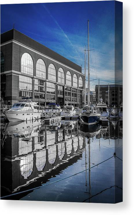 London. St. Katherine Dock. Boats. Landscape. City. Canvas Print featuring the photograph London. St. Katherine Dock. Reflections. by Yau Ming Low