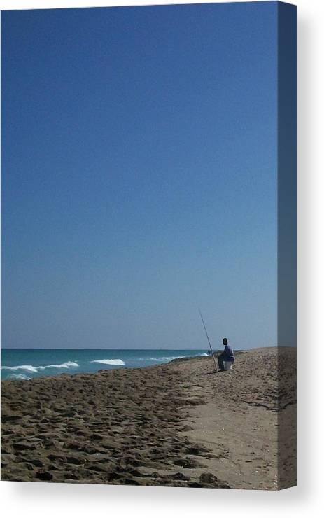 Surf Canvas Print featuring the photograph Loner by Karen Thompson