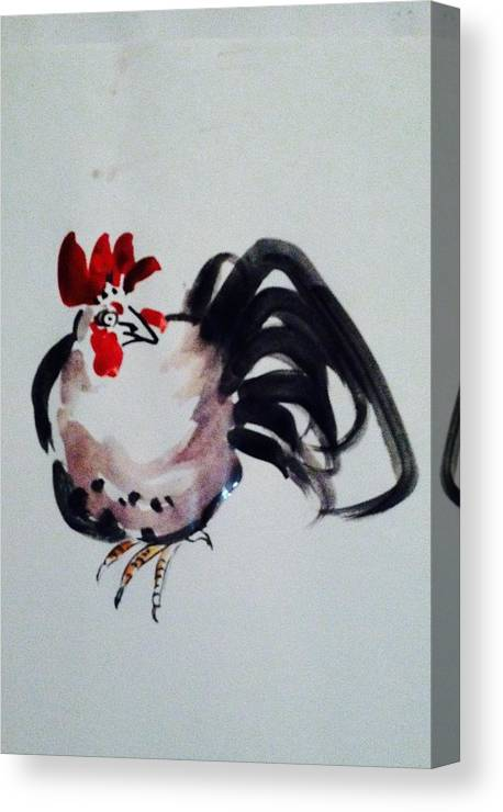 Rooster Canvas Print featuring the painting Looking Around by Hae Kim