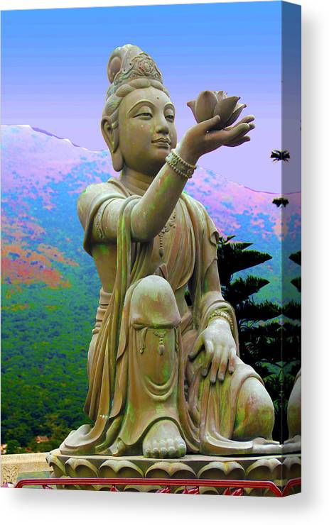 Statue Canvas Print featuring the photograph Lotus Statue by Adina Campbell