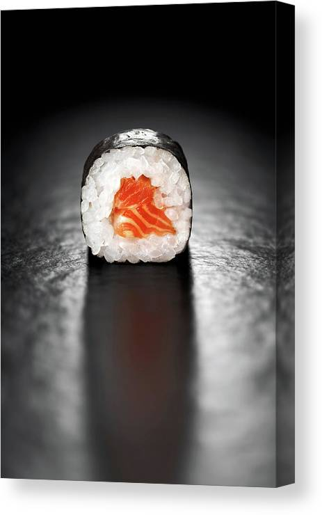 Sushi Canvas Print featuring the photograph Maki Sushi Roll With Salmon by Johan Swanepoel
