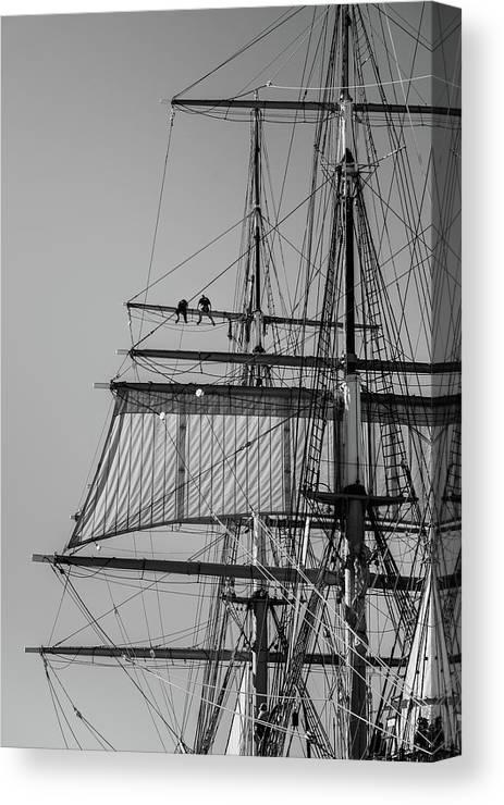 Ship Canvas Print featuring the photograph Men Aloft by Joseph Smith
