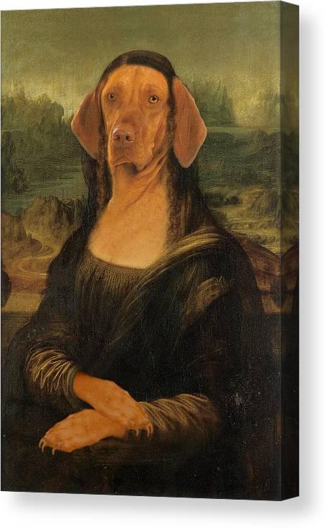 Mona Lisa Canvas Print featuring the digital art Mona Visla by Galen Hazelhofer