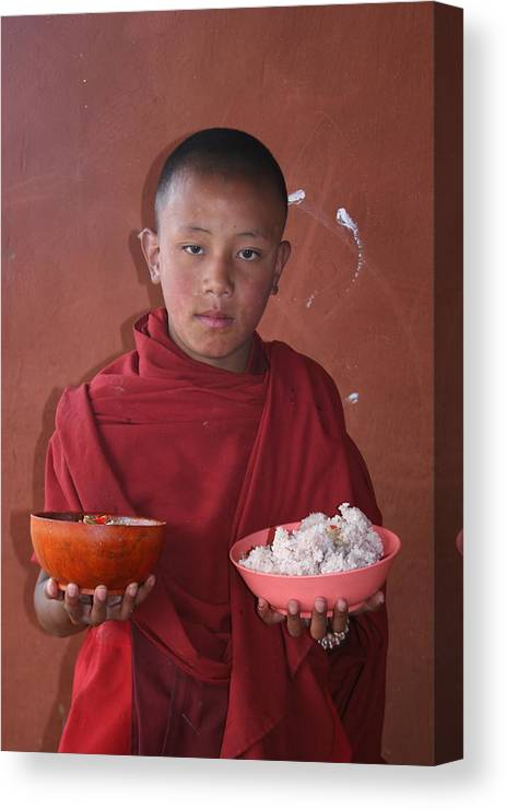 Bhutan Monk Lunch Rice Child Robes Bhutanese Canvas Print featuring the photograph Monks Lunch by Linda Russell