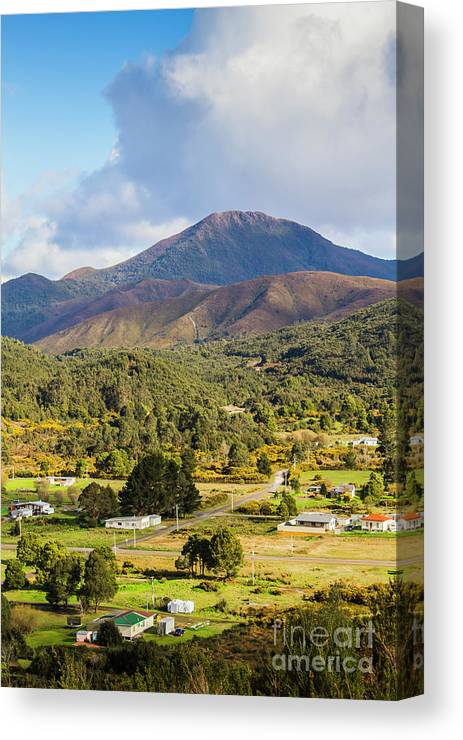 Countryside Canvas Print featuring the photograph Mount Zeehan Valley Town. West Tasmania Australia by Jorgo Photography - Wall Art Gallery