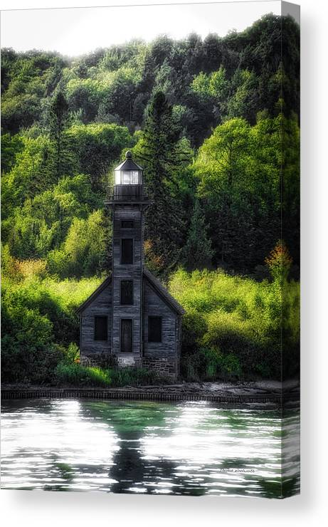 Lighthouse Canvas Print featuring the photograph Munising Grand Island Lighthouse Upper Peninsula Michigan Vertical 01 by Thomas Woolworth