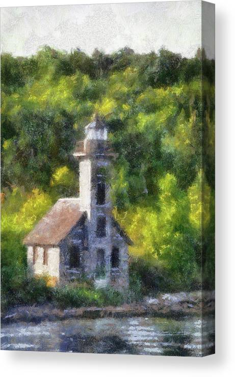 Munising Grand Island Lighthouse Canvas Print featuring the photograph Munising Grand Island Lighthouse Upper Peninsula Michigan Vertical Pa 02 by Thomas Woolworth