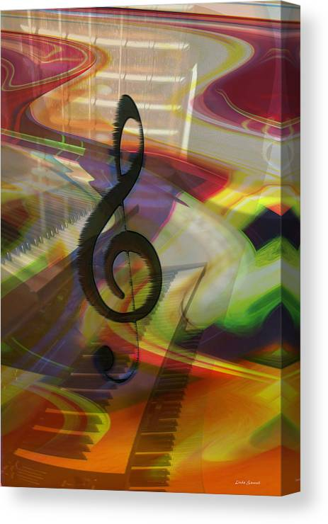 Keyboards Canvas Print featuring the photograph Musical Waves by Linda Sannuti