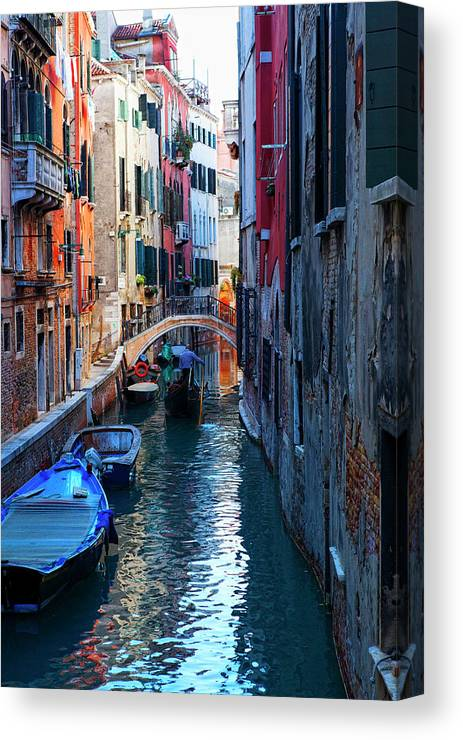 Campo Santa Maria Mater Domini Canvas Print featuring the photograph Narrow Canal View Venice by George Oze