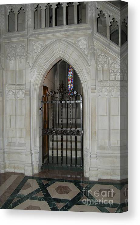 Cathedral Canvas Print featuring the photograph National Cathedral Grated Door by Faith Harron Boudreau