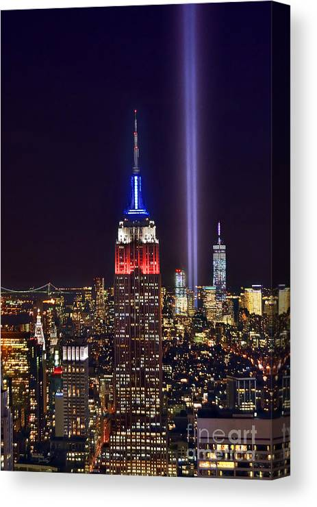 New York City Skyline At Night Canvas Print featuring the photograph New York City Tribute In Lights Empire State Building Manhattan At Night Nyc by Jon Holiday