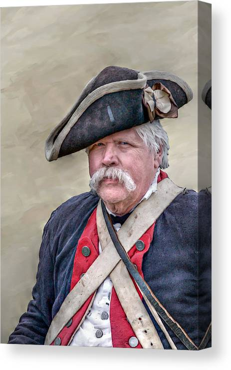 War Canvas Print featuring the digital art Old Colonial Soldier Portrait by Randy Steele