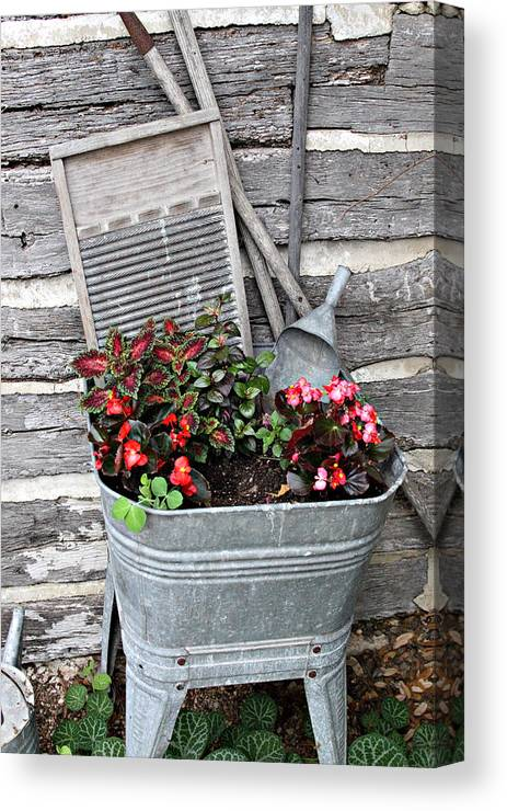 Rural Canvas Print featuring the photograph Old Fashion Elements With Flowers by Linda Phelps