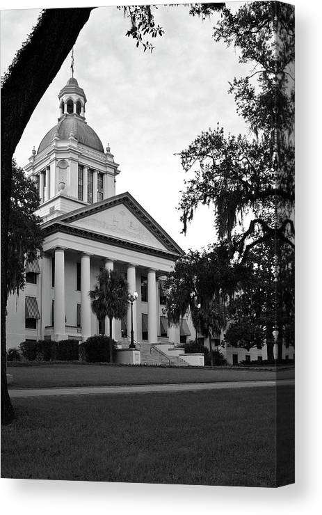 Black And White Photography Canvas Print featuring the photograph Old Florida State Capitol by Wayne Denmark