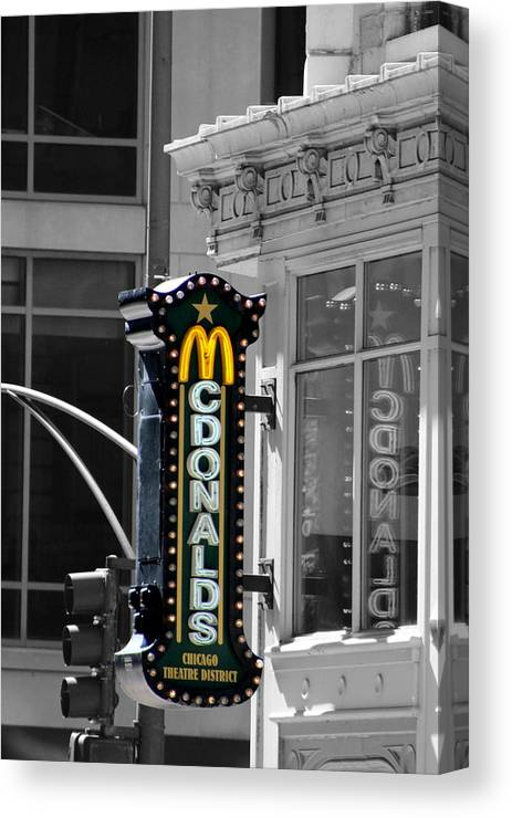 Old Mcdonalds Sign In Downtown Chicago Selective Coloring Canvas Print