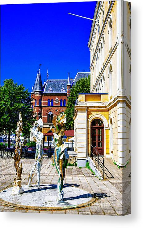 Sweden Theaters Orebero Canvas Print featuring the photograph Orebron Theater by Rick Bragan