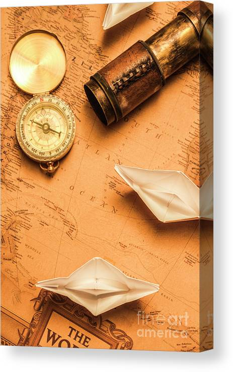 Boat Canvas Print featuring the photograph Origami Paper Boats On A Voyage Of Exploration by Jorgo Photography - Wall Art Gallery