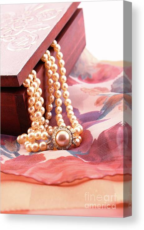 Box Canvas Print featuring the photograph Ornate Box Carved And Pearl Necklace Detail by Daniel Ghioldi