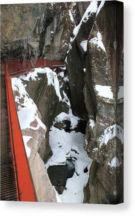 Red Canvas Print featuring the photograph Ouray Catwalk by Angie Wingerd