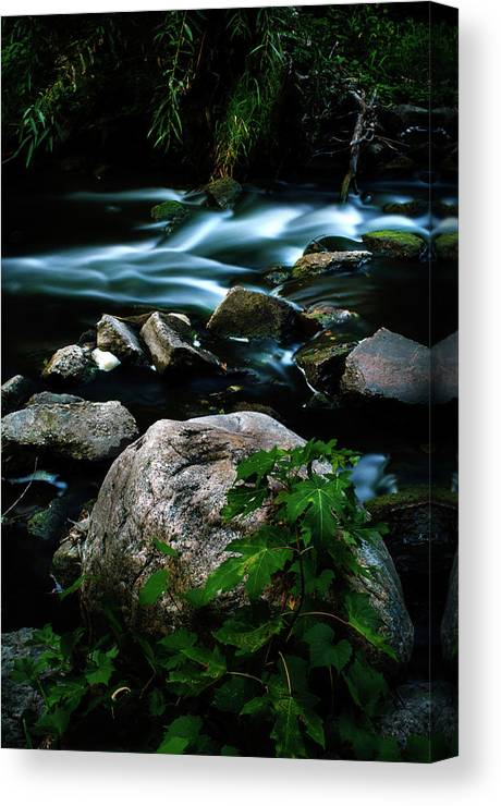 Blue Canvas Print featuring the photograph Over The Falls by David Jilek