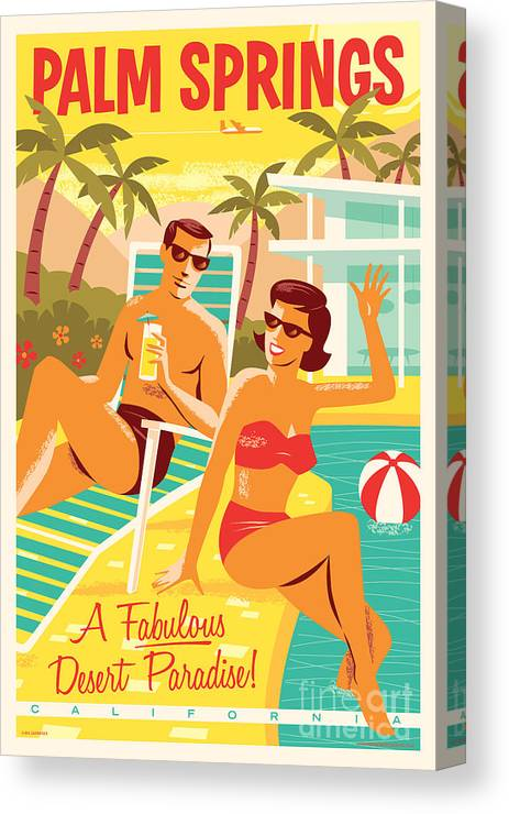 Pop Art Canvas Print featuring the digital art Palm Springs Poster - Retro Travel by Jim Zahniser