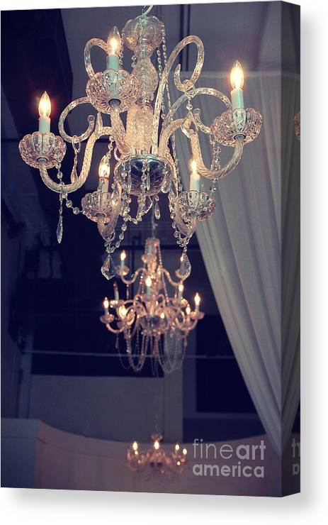 Opulent Paris Chandeliers Canvas Print featuring the photograph Parisian Crystal Chandelier - Chandelier In Window - Paris Gold Crystal Chandelier Decor by Kathy Fornal