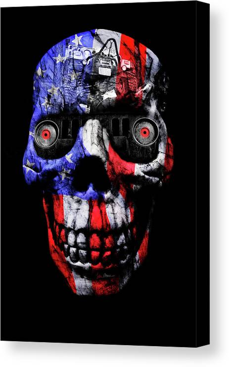 Jeep Canvas Print featuring the photograph Patriotic Jeeper Cyborg Tj Wrangler by Luke Moore