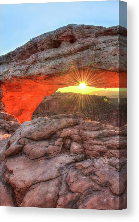 America Canvas Print featuring the photograph Peaceful Morning - Sunrise At Mesa Arch - Moab Utah by Gregory Ballos