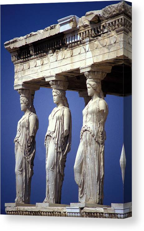 Staues Canvas Print featuring the photograph Porch Of The Maidens by Carl Purcell