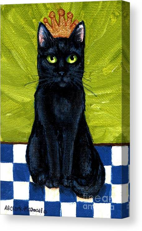 Black Cats Canvas Print featuring the painting Princess Velvet by Beth Clark-McDonal