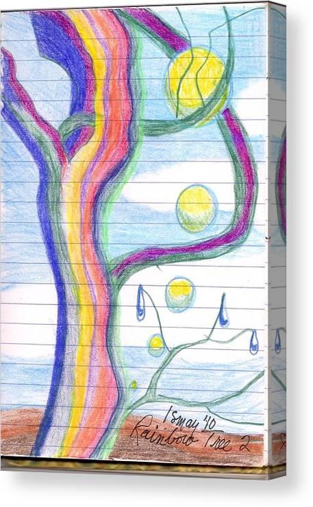 Rainbow Canvas Print featuring the drawing Rainbow Tree Revisited by Rod Ismay