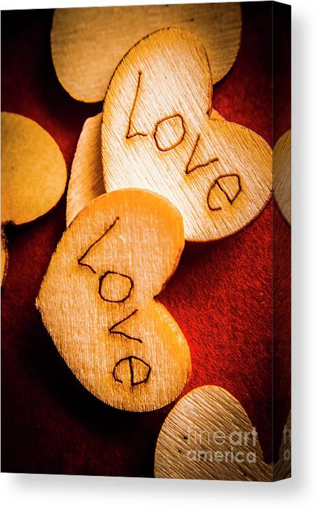 Romantic Canvas Print featuring the photograph Romantic Wooden Hearts by Jorgo Photography - Wall Art Gallery