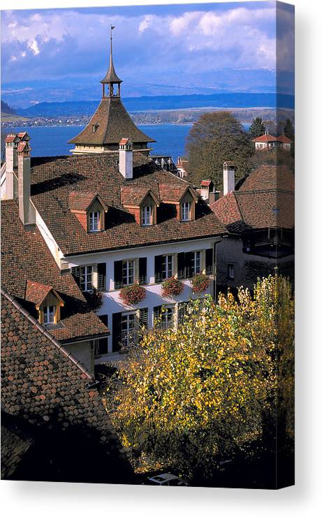 Rooftops Canvas Print featuring the photograph Rooftop In Geneva In Switzerland by Carl Purcell