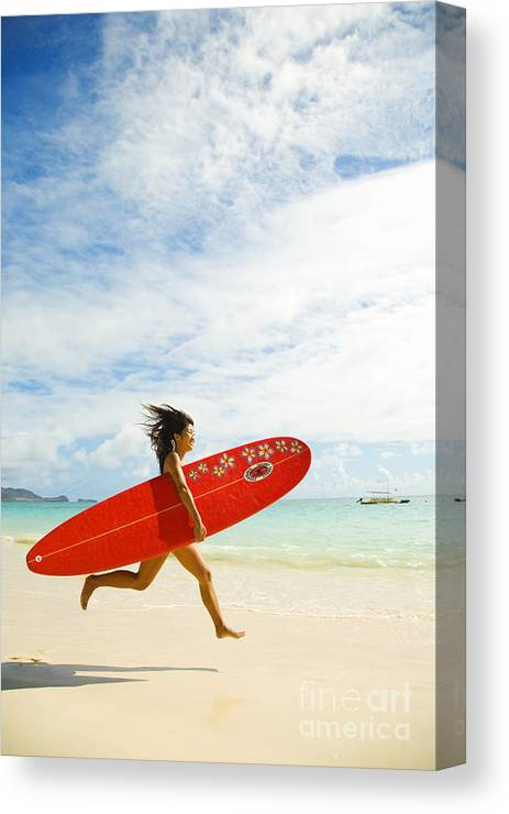Afternoon Canvas Print featuring the photograph Running With Surfboard by Dana Edmunds - Printscapes
