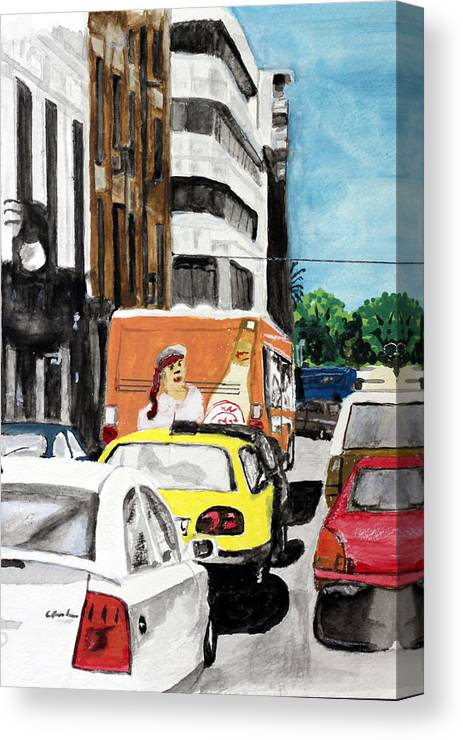 City Cars Vehicles Buildings Rush Hour Traffic Canvas Print featuring the painting Rush Hour by Cathy Jourdan