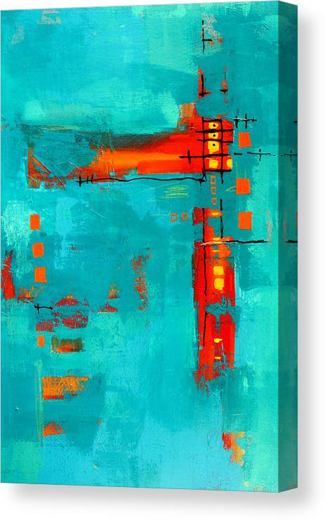 Turquoise Abstract Canvas Print featuring the painting Rusty by Nancy Merkle