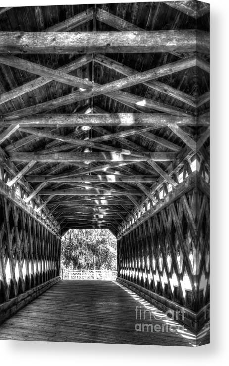 Sachs Canvas Print featuring the photograph Sachs Bridge - Gettysburg - Bw-hdr by Paul W Faust - Impressions of Light