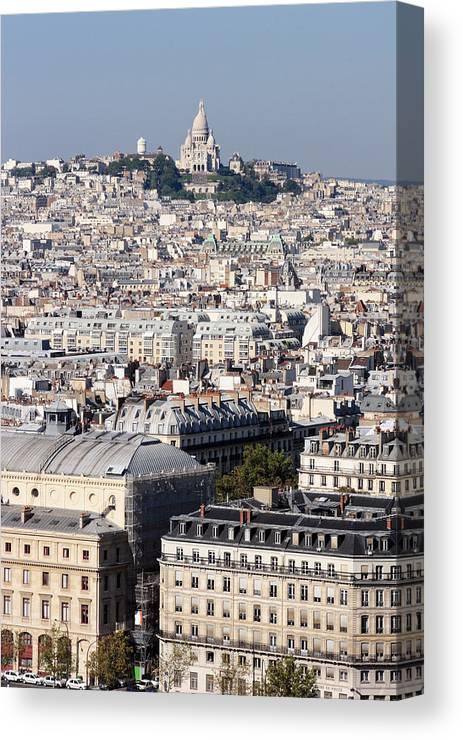 Sacre Coeur Canvas Print featuring the photograph Sacre Coeur At The Summit Of Montmartre Paris by Pierre Leclerc Photography