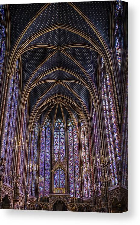 Joan Carroll Canvas Print featuring the photograph Sainte Chapelle Stained Glass Paris by Joan Carroll