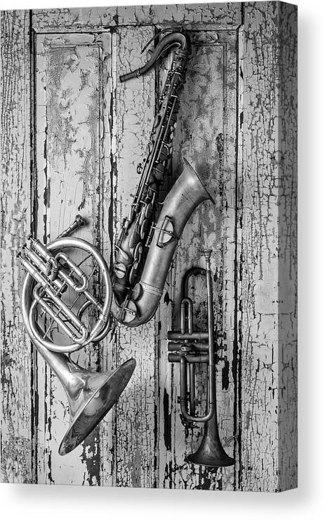 Sax Canvas Print featuring the photograph Sax French Horn And Trumpet by Garry Gay