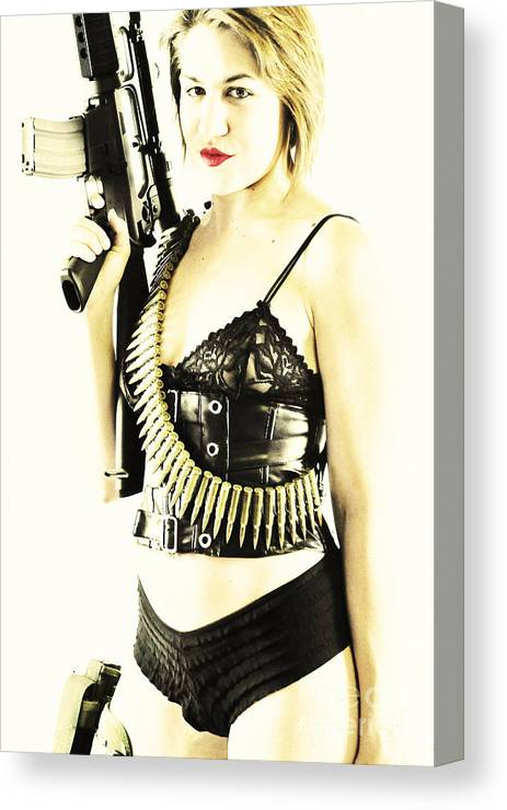 Fetish Photographs Canvas Print featuring the photograph Semi Automatic by Robert WK Clark