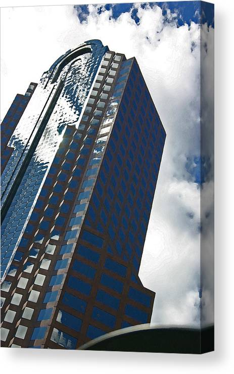 Sdy Scraper Canvas Print featuring the photograph Silver Building by Beebe Barksdale-Bruner