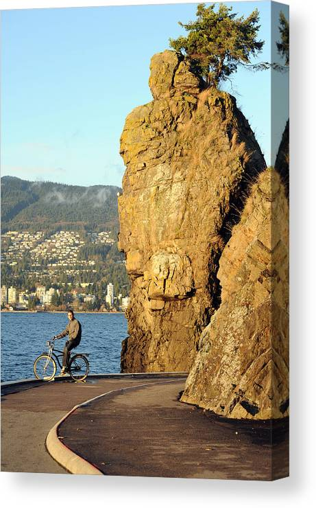 Stanley Park Canvas Print featuring the photograph Siwash Rock Stanley Park II by Jason Evans
