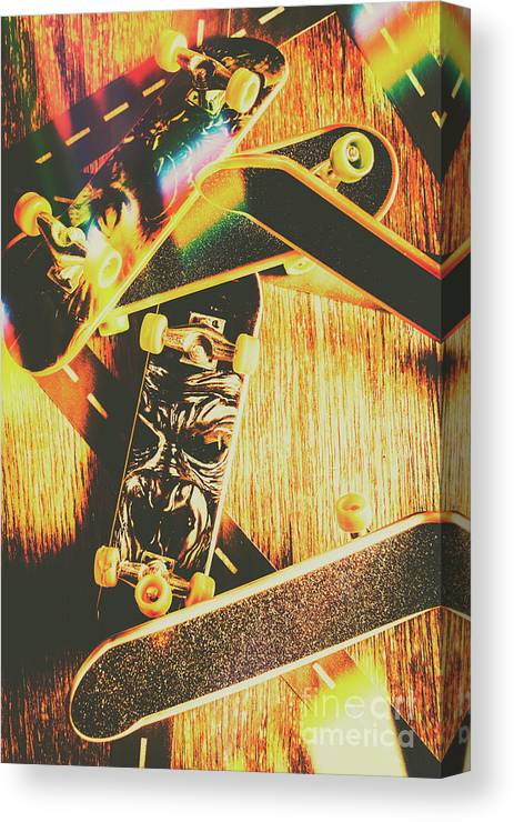 Skateboard Canvas Print featuring the photograph Skateboarding Tricks And Flips by Jorgo Photography - Wall Art Gallery