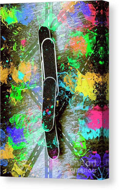 Skateboard Canvas Print featuring the photograph Skating Pop Art by Jorgo Photography - Wall Art Gallery