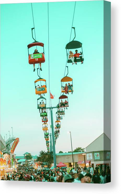 State Fair Canvas Print featuring the photograph Sky Gliders Over Crowd by Vincent Buckley