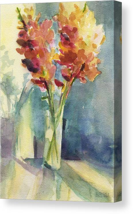 Floral Canvas Print featuring the painting Snapdragons In Morning Light Floral Watercolor by Beverly Brown Prints