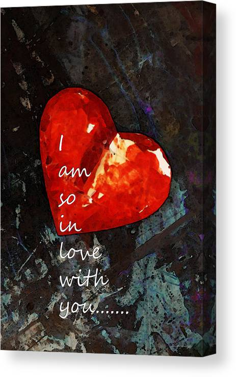 so in love with you romantic red heart painting canvas print
