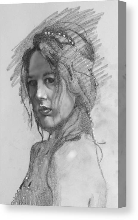 Portrait Canvas Print featuring the drawing Sophia by Robert Bissett